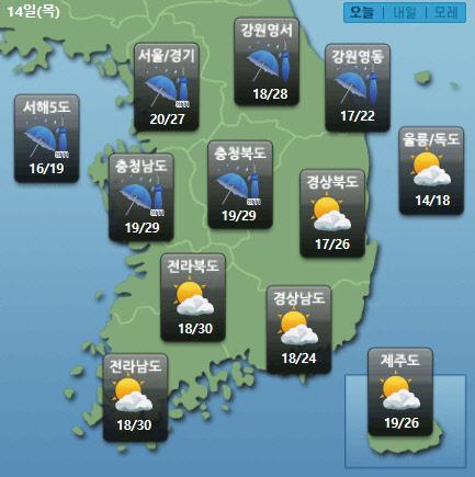 <오늘 날씨> 중부 오전까지 비...낮부터 전국 30도 육박한 `무더위`